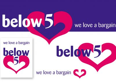 Below 5: discount store logo design