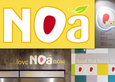 Noa vegetarian fast food: logo design and branding