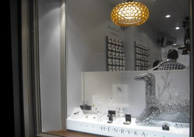 Henryka: white window display with feature light