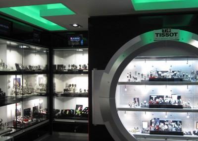 Watchshop: Bespoke watch display cabinets and lighting scheme
