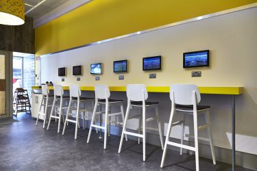 Photo: Yellow breakfast bar with screens