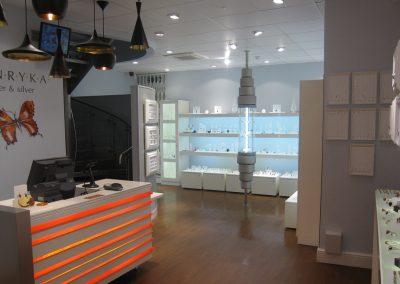 Photo: wall displays with illuminated cash desk