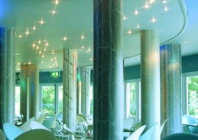 The Riverbank restaurant interior lighting