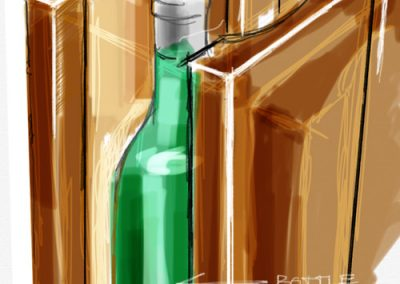 Sketch:wine bottle storage display