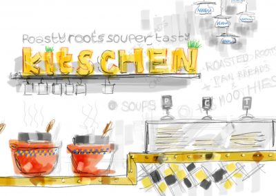 Sketch of kitchen counter
