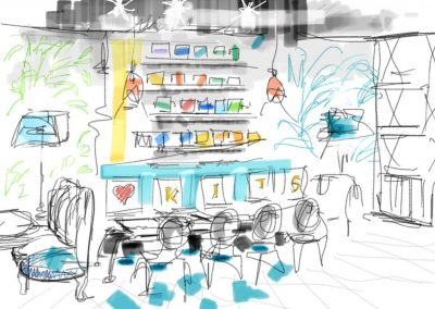 Sketch of cafe interior