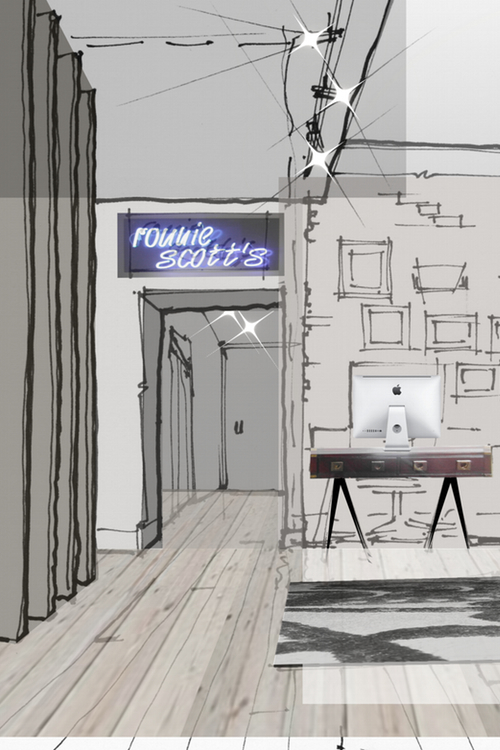 Sketch: office design proposal for Ronnie Scott's